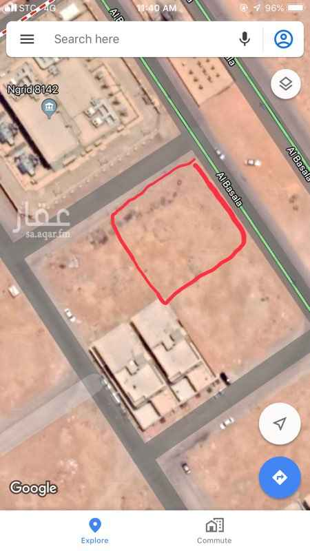 1769276 ارض تجارية  عرض الشارع جنوبي 40 - غربي 15 رقم القطعة 42 رقم المخطط 3005      رقم البلوك 5