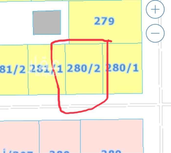 1645432 قريبة من جامع الاحيدب قبل الاشارة الاولى بنجم الدين (يمين)  خلف استراحة الريفيرا - ش١٣ جنوبي واجهة١٩م عمق ٢٥.٥م حدالبيع/ ٦٢٠ ألف صافي