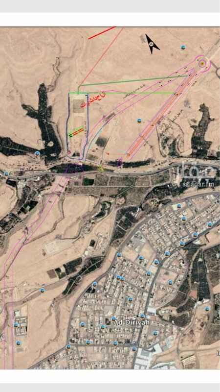 1589247 مزرعة على وادي حنيفة على مدخل الدرعية الستين الجديد  سعر المتر 2000 ريال