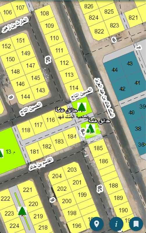 1710505 للبيع ارض في الضاحيه الحي8/5 رقم 114 مساحه550 متر شارع32 شرق24 غرب 8 جنوب موقع ممتاز جدا