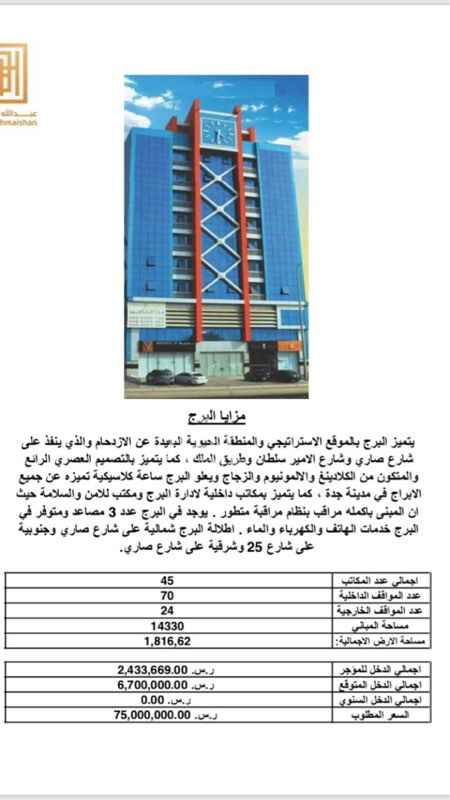 1410235 برج الغيداء للبيع في جده ..   من المالك مباشرة   لمعلومات اكثر التواصل ع الواتس اب :   0567888972