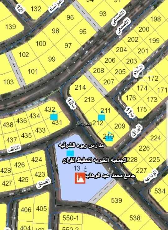 1799236 للبيع ارض في حي الجامعة  حرف أ قطعة رقم ٢١٢ مساحة ٥٠٦م شارع ٢٠غرب السعر ١٨٠٠ريال للمتر
