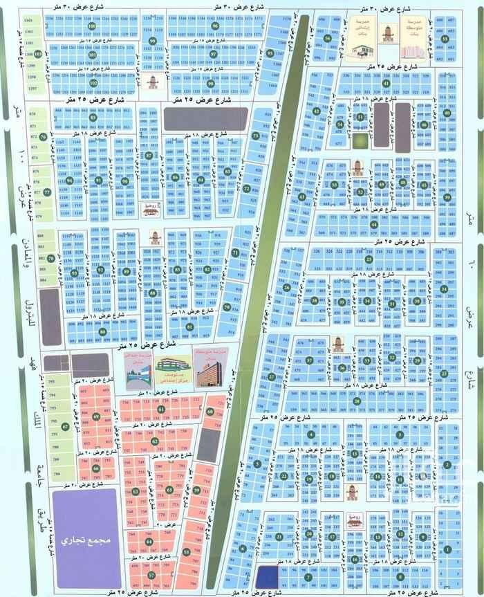 1810503 للبيع ارض في حي القصور  مساحة ٦٢٥م  ٦٠شرق السعر ٢٢٠٠ريال للمتر