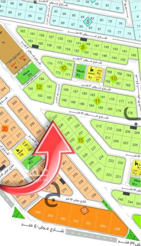 1650333 أرض للبيع في الجابرية رقم 237 حرف ب المساحة 827م شارع عرض 16 × 15 على السوم