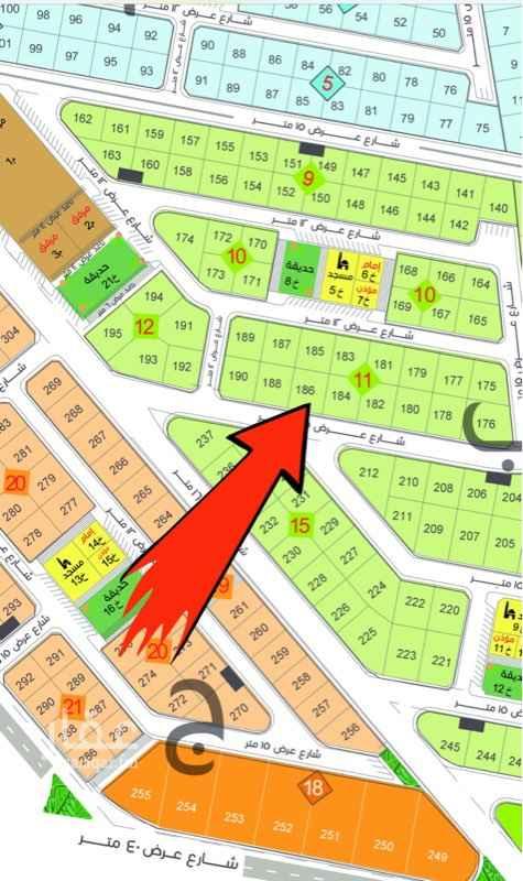 1650341 أرض للبيع في الجابرية رقم 186 حرف ب بلك 11 المساحة 471م شارع عرض 12 شمال سعر المتر 1,500 ريال