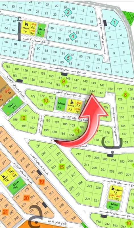 1650348 أرض للبيع في الجابرية رقم 144 بلك 9 المساحة 400م شارع عرض 12 جنوب السعر 622,000 ريال