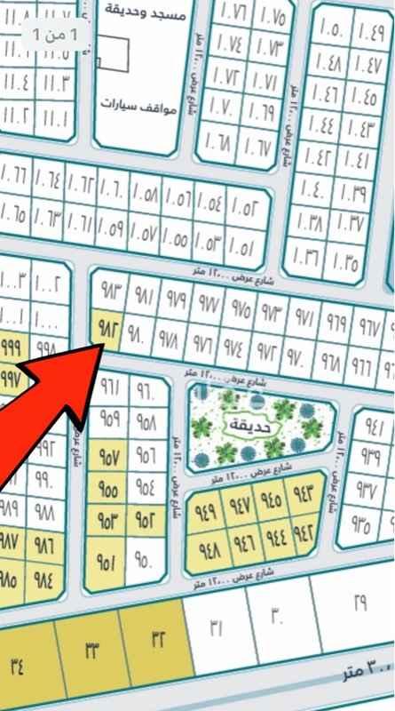 1660154 أرض للبيع في دانة الراشدية رقم 982 حرف أ المساحة 480م شارع عرض 12×12 ركن السعر 700,000 ريال