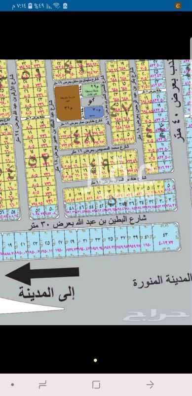 1345343 أرض بمخطط المحيسن شرق المدينه . مساحه ٣٣٠ متر ( ١١×٣٠) شارع ١٨ جنوبي