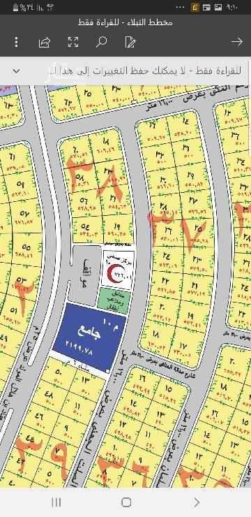 1410389 اراضي بمخطط المحيسن بحي النبلاء . مساحه ٥١٥ و٥٣٠ و٥٠٠  شارع ١٦ غربي