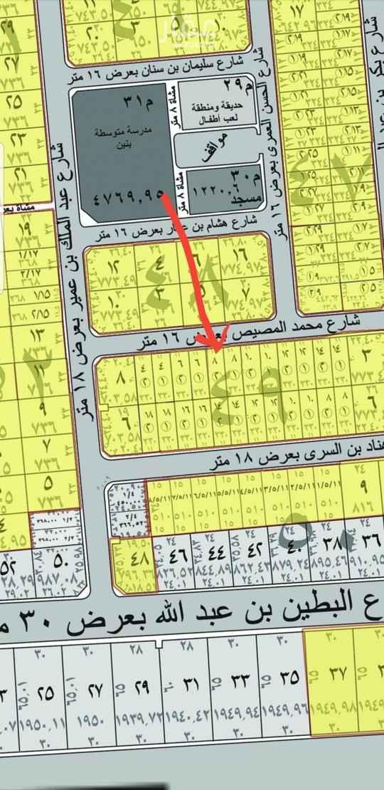 1817970 أرض بمخطط المحيسن شرق المدينه  مساحه ٣٣٠ متر (١١×٣٠) شارع ١٦ شمالي