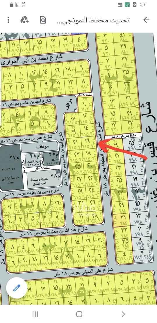 1819574 ارض بمخطط المحيسن شرق المدينه  موقع مرتفع ومتساوي وارضيه ممتازه  مساحه ٦١٦ متر شارع ١٨ شرقي