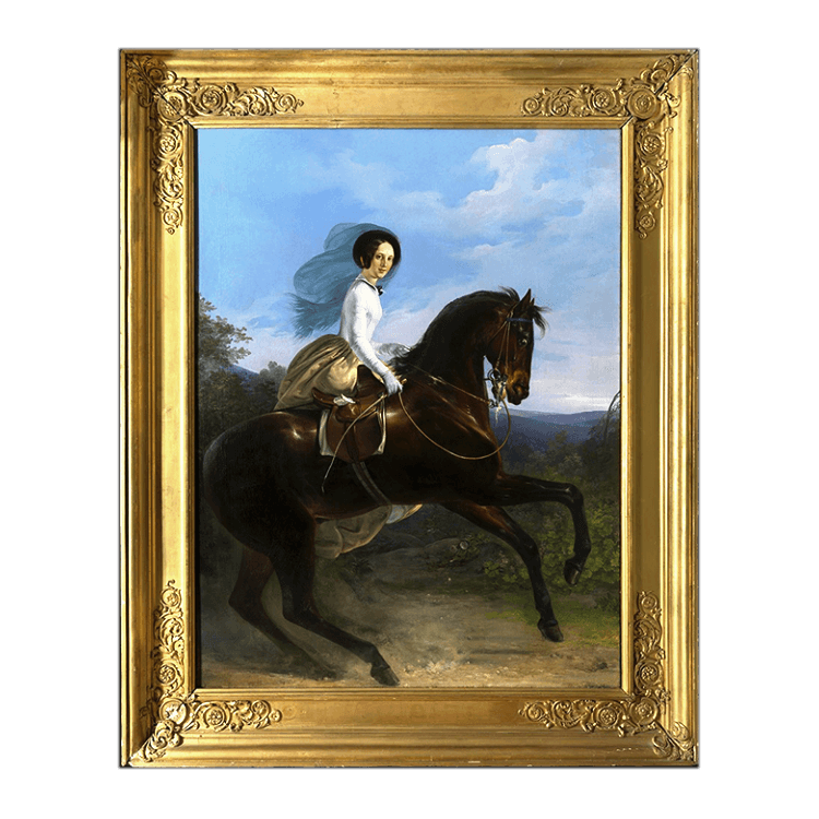 Princess de Joinville Astride a Bay Horse by Henri d'Aincy, Le Comte Monpezat