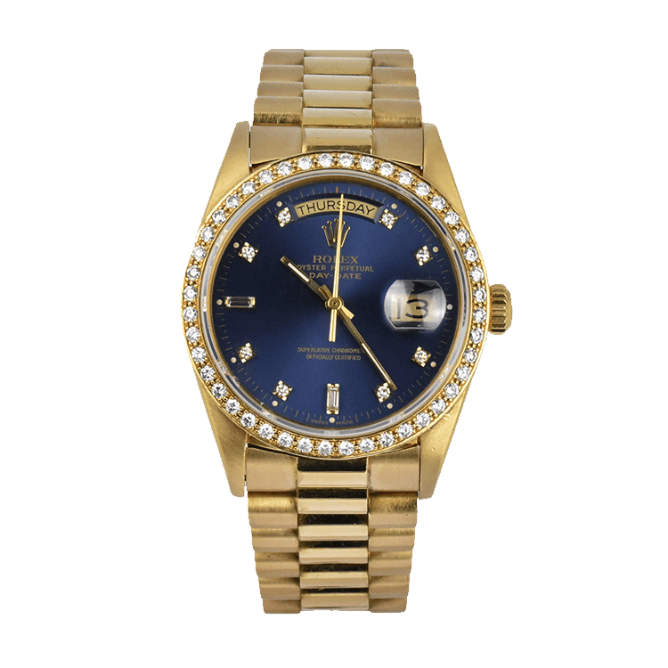 Blue Rolex Daydate President Ref. 18038 with Diamond Dot Dial and Bezel