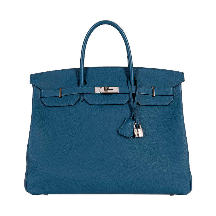 As New Hermes 40cm Cobalt Blue Togo Birkin with Palladium Hardware