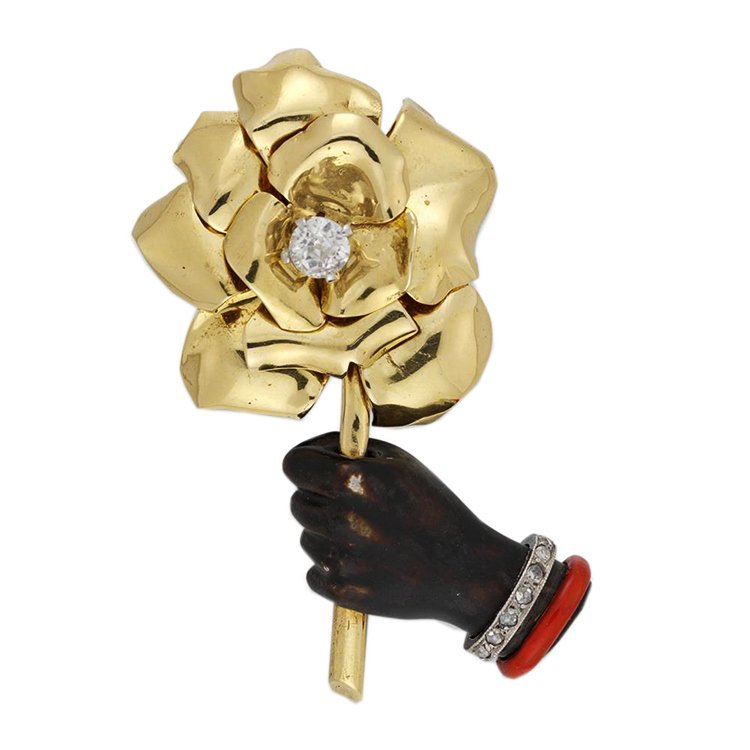Gold Cartier Flower & Hand Brooch
