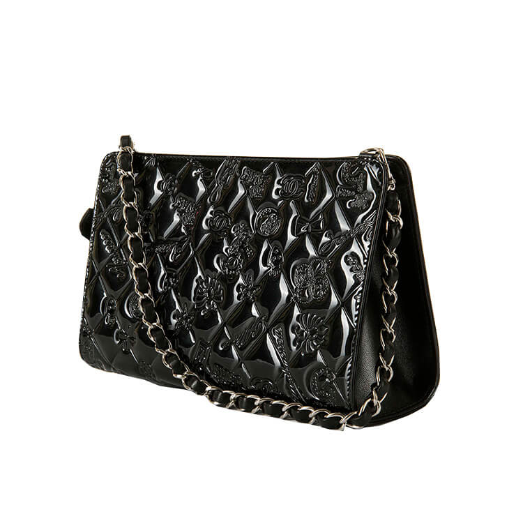 34d50cfee7f A Rare Pristine Chanel Black Patent Leather  Lucky Charms  Evening Bag