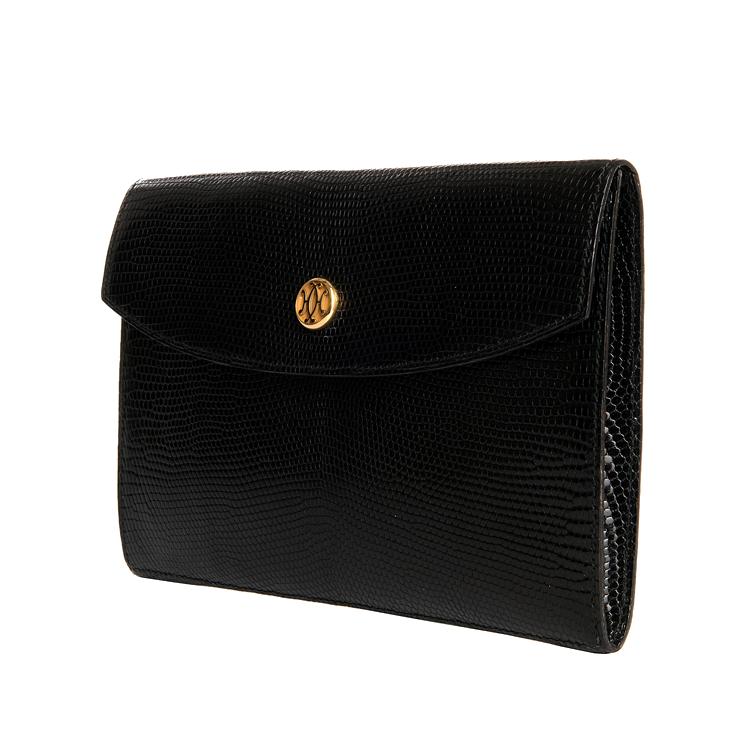 ceb8e4fe1cc Very Rare Vintage Hermes Black Lizard Clutch bag with 18ct Gold Clasp