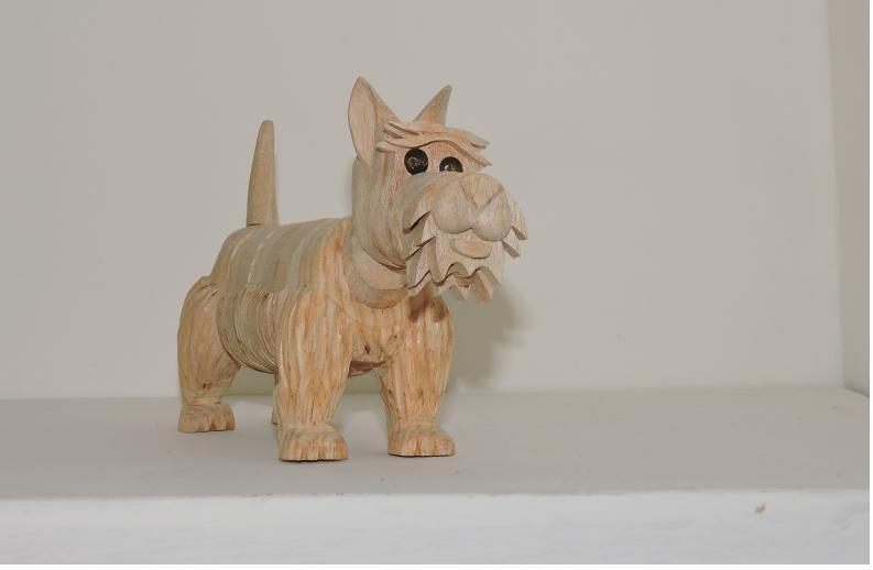 Terrier escocés de Madera Artesanal