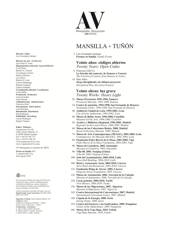 AV Monografías 144 MANSILLA + TUÑON 1992-2011 - Preview 1
