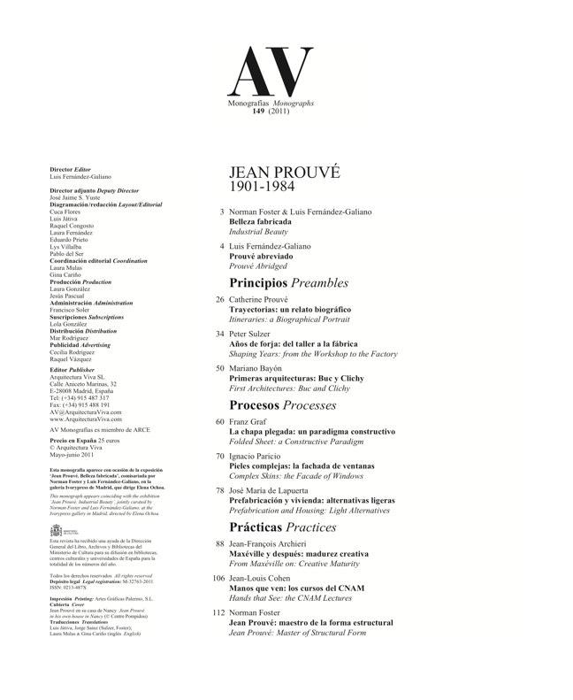 AV Monografías 149 JEAN PROUVÉ - Preview 1