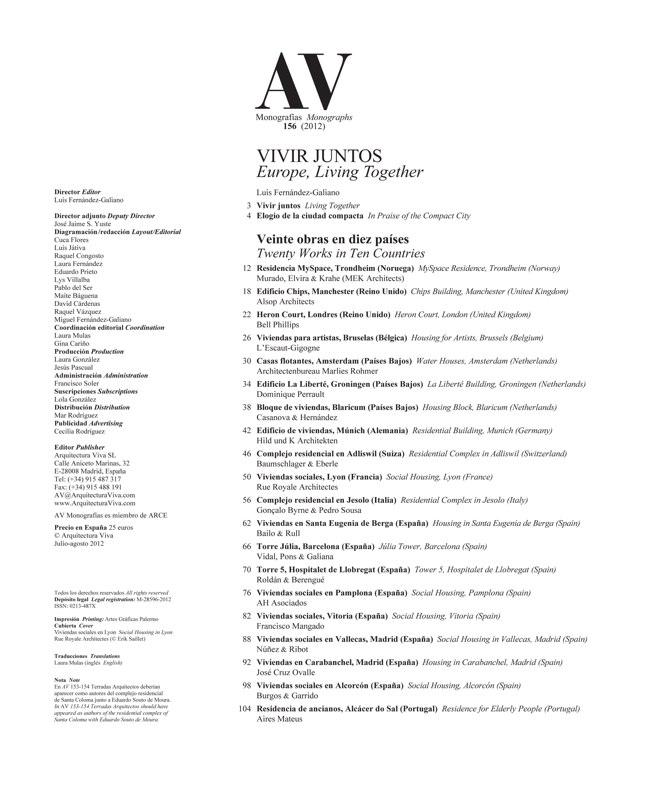 AV Monografías 156 EUROPE, LIVING TOGETHER / VIVIR JUNTOS - Preview 1