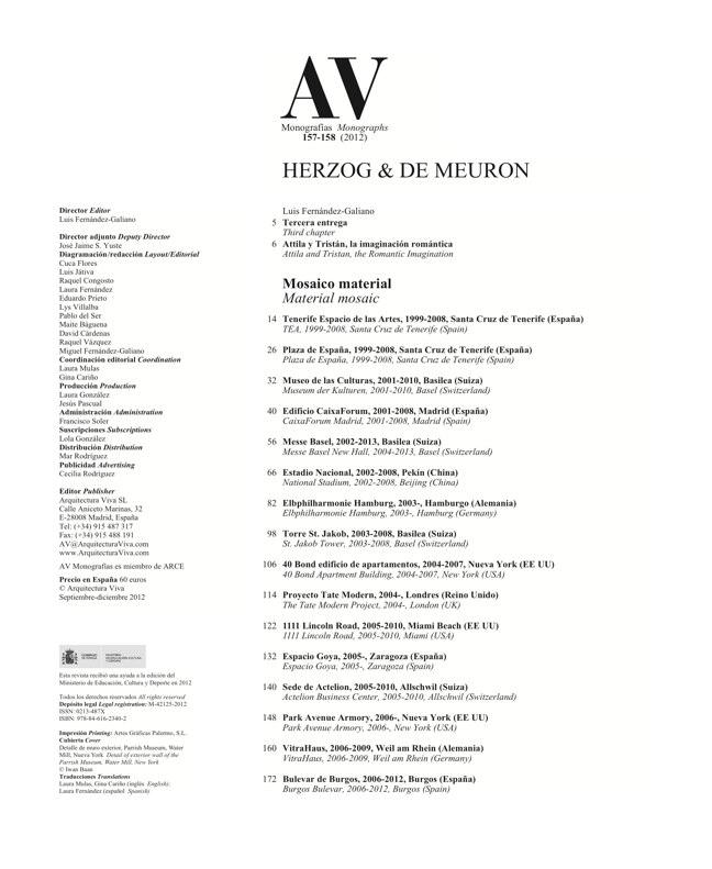AV Monografías 157-158 HERZOG & DE MEURON - Preview 1