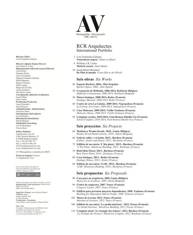 AV Monografias 175 RCR Arquitectes - Preview 1