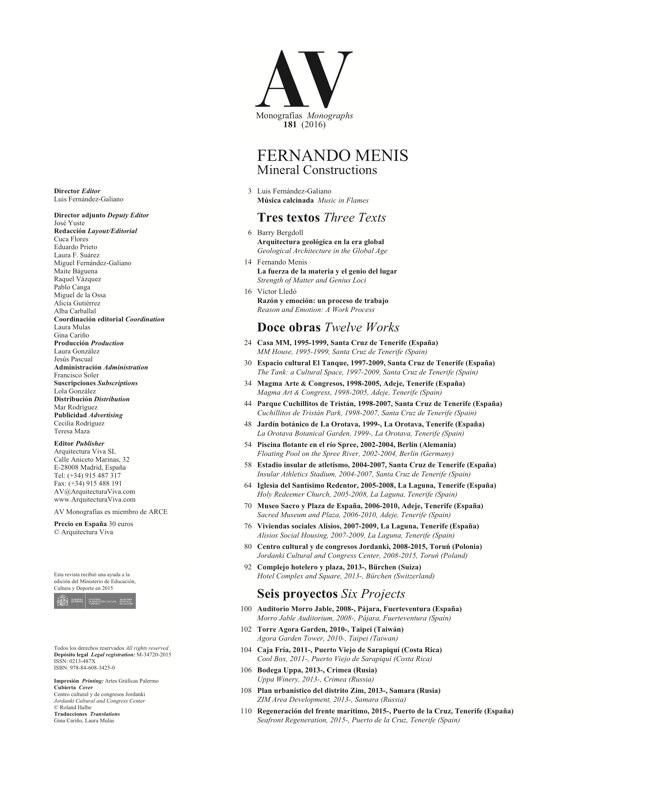 AV Monografias 181 FERNANDO MENIS - Preview 1