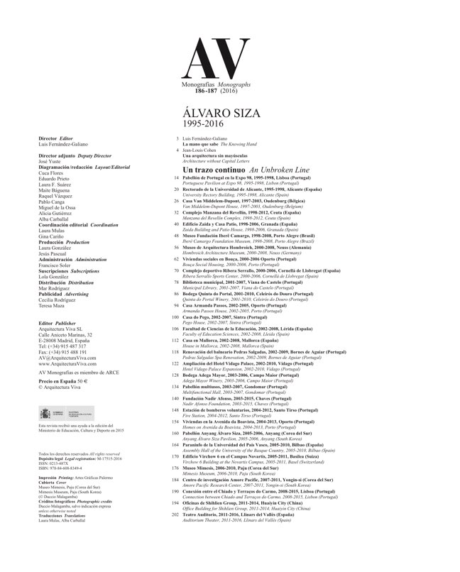 AV Monografias 186-187 ALVARO SIZA - Preview 1