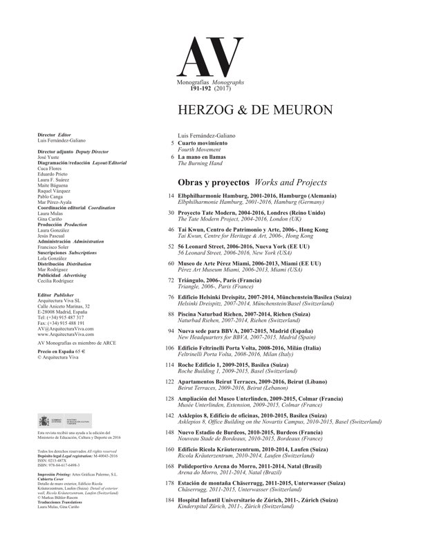 AV Monografias 191_192 HERZOG & DE MEURON - Preview 1