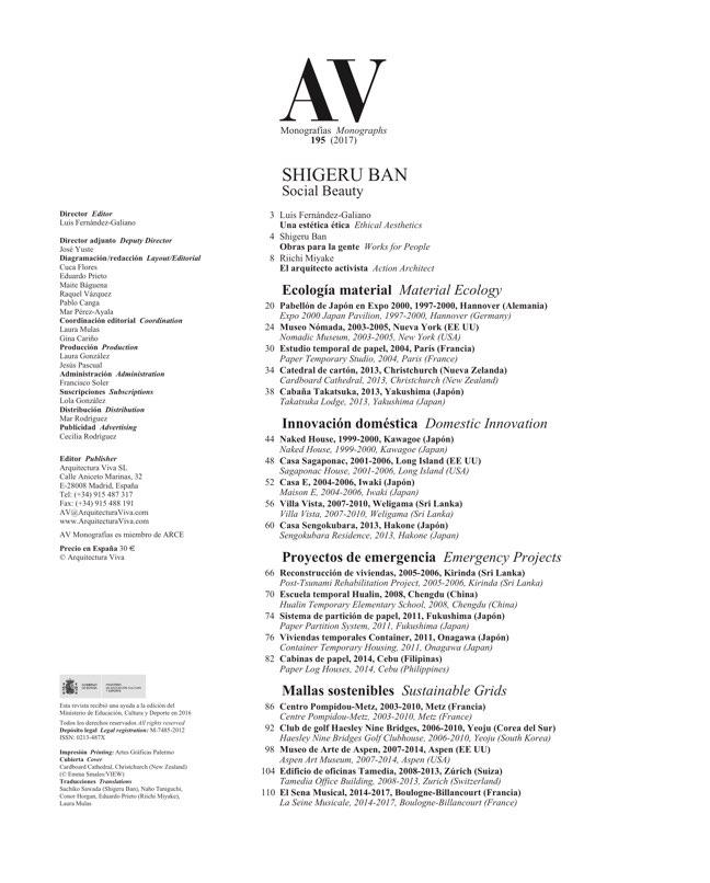 AV Monografias 195 SHIGERU BAN. Social Beauty - Preview 1