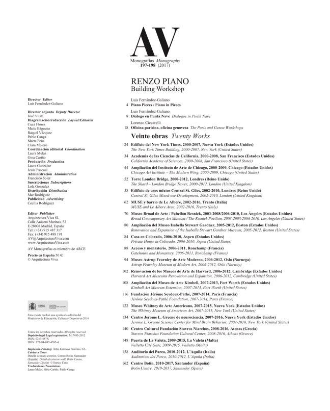 AV Monografias 197_198 RENZO PIANO - Preview 1