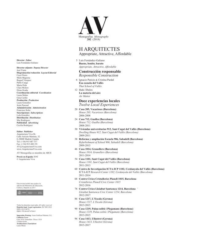 AV Monografias 202 H ARQUITECTES - Preview 1