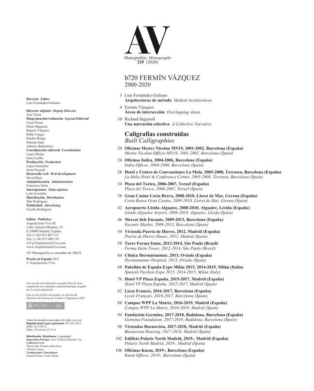 AV Monografias 229 b720 Fermín Vázquez - Preview 1