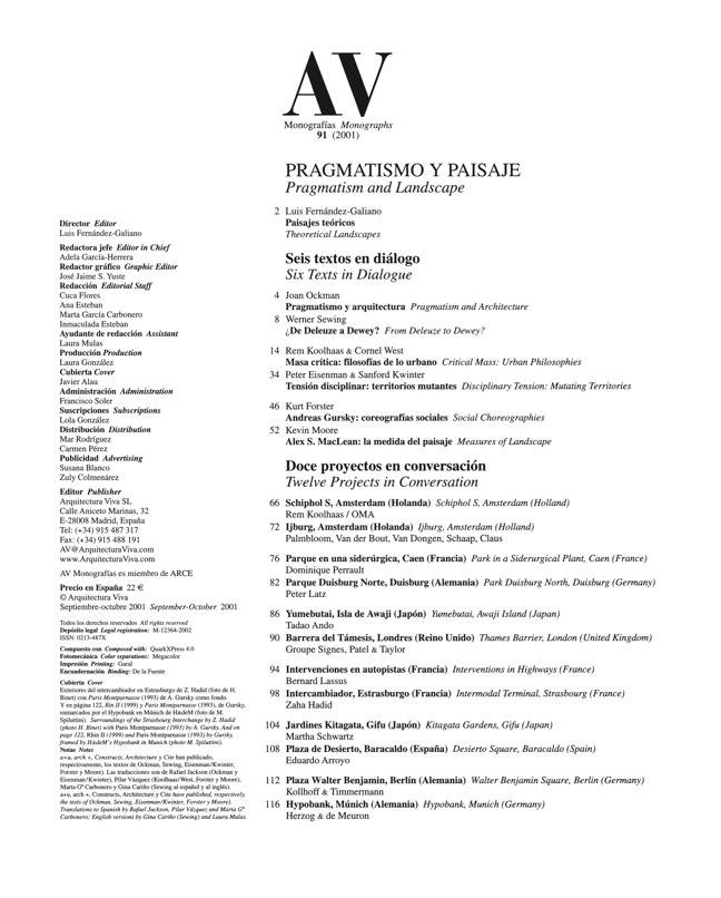 AV Monografías 91 PRAGMATISMO Y PAISAJE / Pragmatism and Landscape - Preview 1