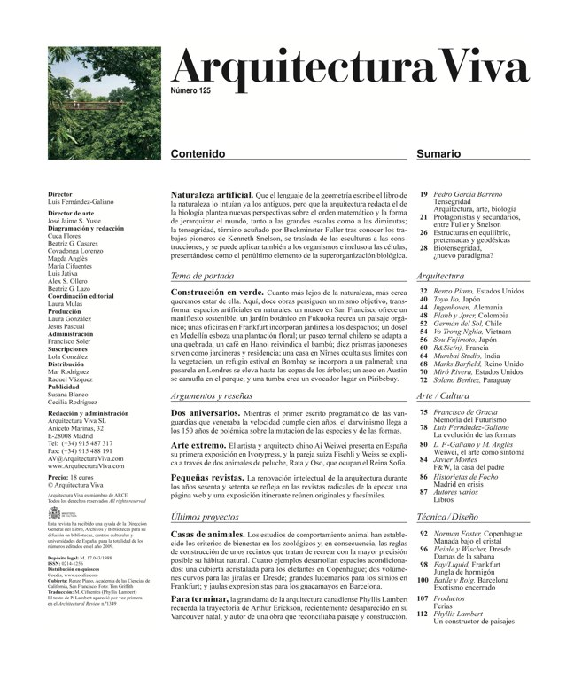 Arquitectura Viva 125 Naturaleza artificial I Artificial Nature - Preview 1