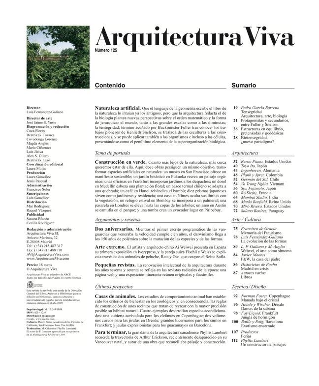 Arquitectura Viva 125 Naturaleza artificial I Artificial Nature - Preview 1