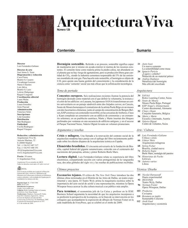 Arquitectura Viva 128 Hormigón sostenible I Sustainable concrete - Preview 1