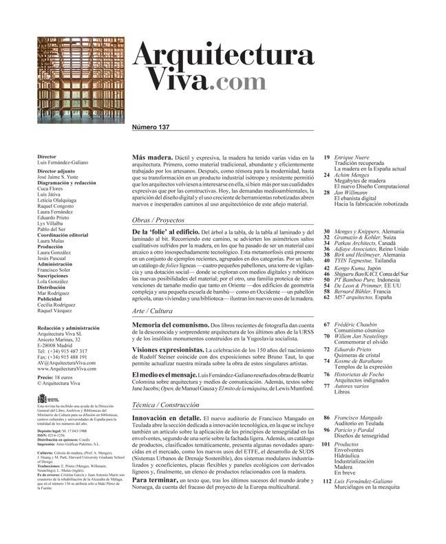 Arquitectura Viva 137 Más madera - Preview 1