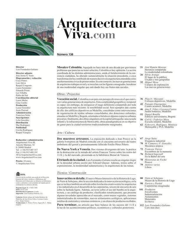 Arquitectura Viva 138 Mosaico Colombia - Preview 1