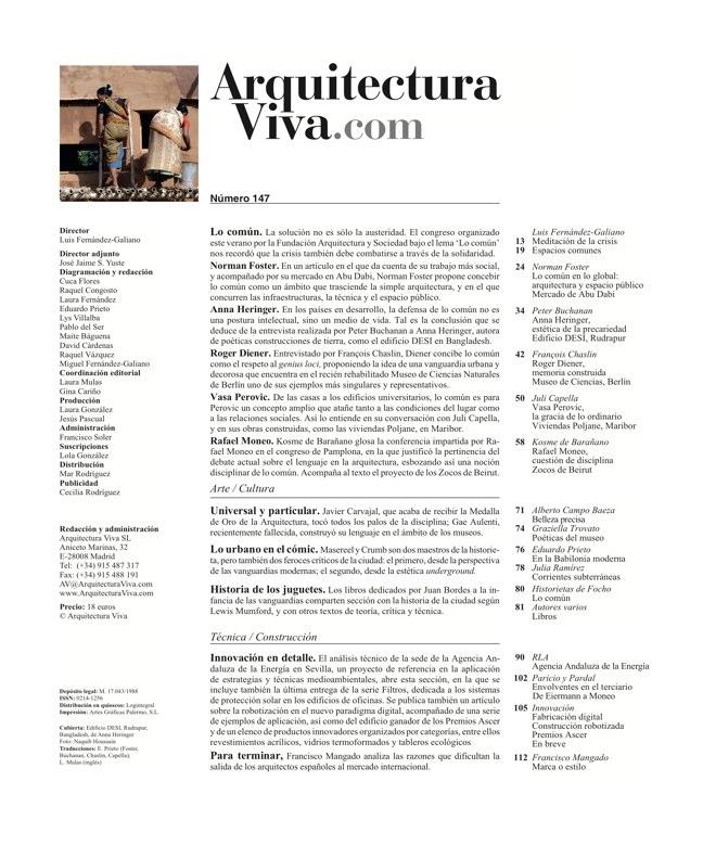 Arquitectura Viva 147 LO COMúN. DE LA AUSTERIDAD A LA SOLIDARIDAD - Preview 1