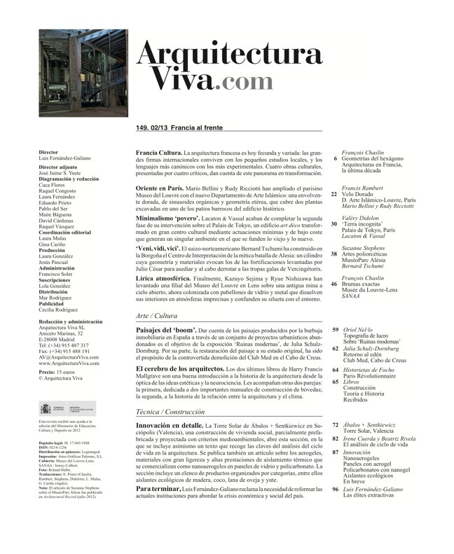 Arquitectura Viva 149 FRANCE IN FRONT / FRANCIA AL FRENTE - Preview 1