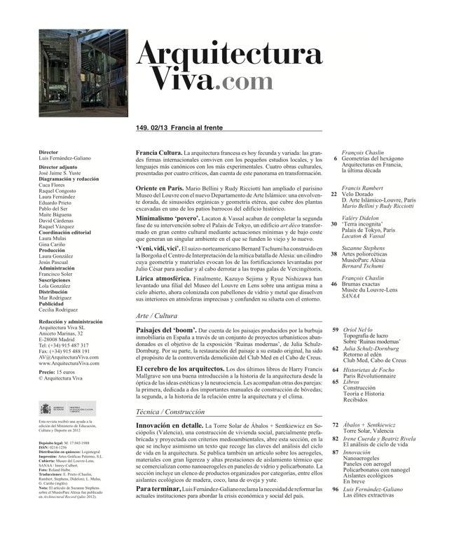 Arquitectura Viva 149 FRANCE IN FRONT / FRANCIA AL FRENTE - Preview 1