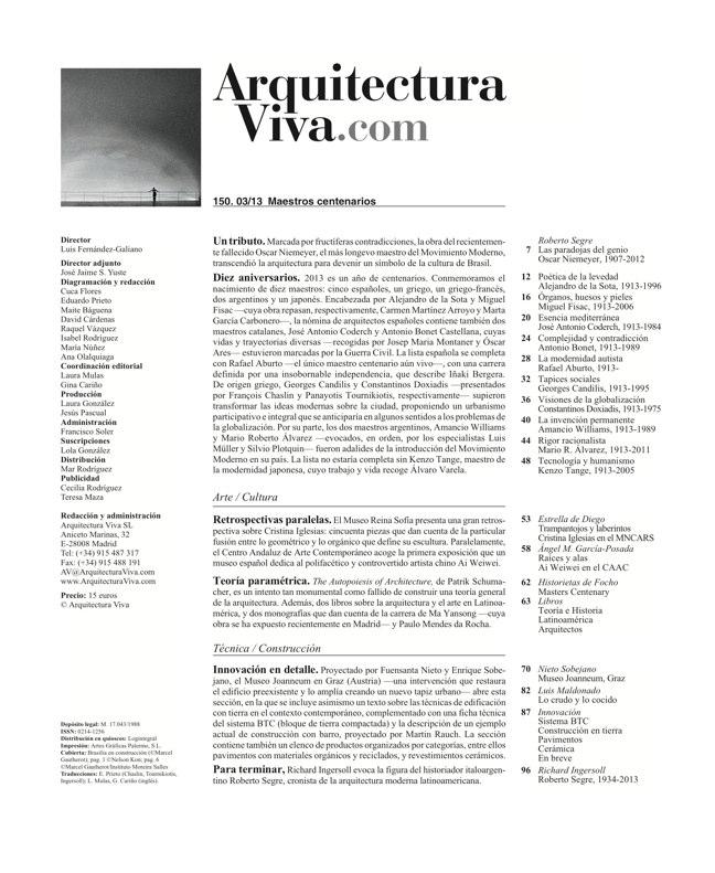 Arquitectura Viva 150. 03/13 Maestros centenarios CENTENARY MASTERS - Preview 1