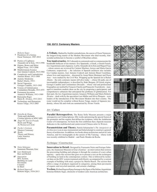 Arquitectura Viva 150. 03/13 Maestros centenarios CENTENARY MASTERS - Preview 2