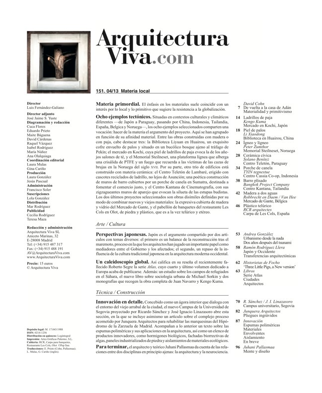 Arquitectura Viva 151 LOCAL MATERIAL. Back to Basics: Essential Experiences - Preview 1