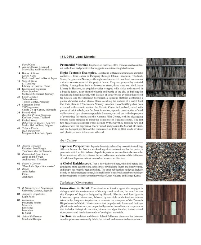 Arquitectura Viva 151 LOCAL MATERIAL. Back to Basics: Essential Experiences - Preview 2