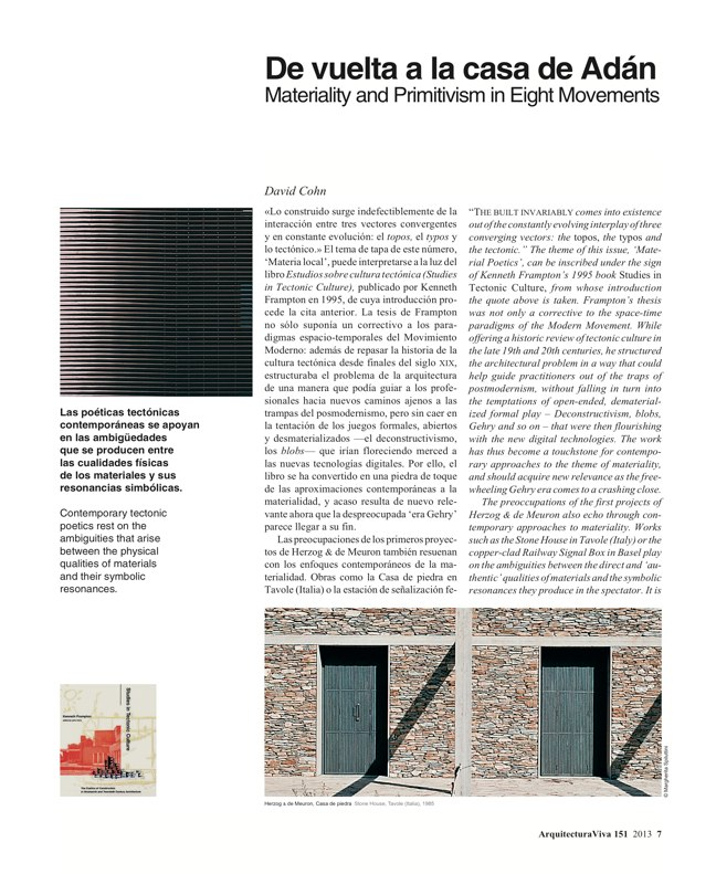 Arquitectura Viva 151 LOCAL MATERIAL. Back to Basics: Essential Experiences - Preview 4
