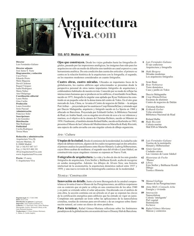Arquitectura Viva 153 WAYS OF SEEING - Preview 1