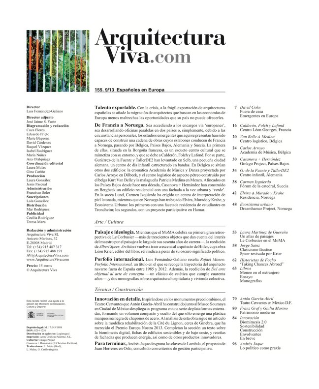 Arquitectura Viva 155 09/13 SPANIARDS IN EUROPE - Preview 1